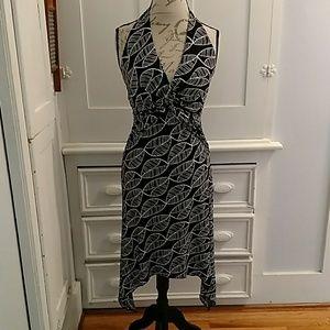 OXOX black/white halter dress. Sz L